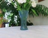 Vintage Kitaichi Glass Vase Sea Blue And Green Crackle Finish