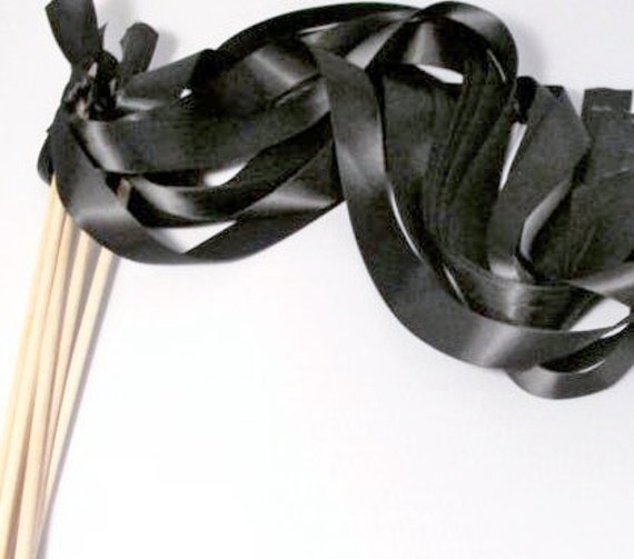 Tie the Knot - Satin Wedding Ribbon Wands - Custom Colors - Pack of 50 - Shown in Classic Black - Traditional Wedding