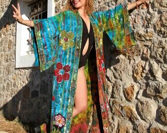 Blue & Green Tie Dye Festival Kimono Perfect for Burning Man
