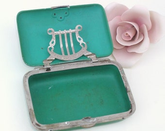 Victorian Celluloid | Cigarette Case | Tobacco Case | Green Trinket Box | Tobacciana