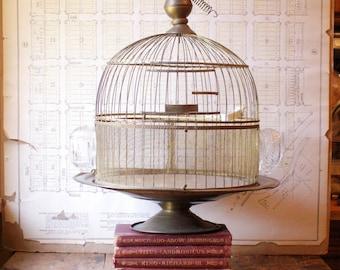 Vintage Round Brass Hendryx Birdcage on Pedestal with Glass Feeders - Wedding Decor