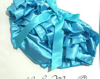 Turquoise Bloomers, Ruffled baby bloomers, holiday bloomers, baby diaper cover, red diaper cover prop, ruffled  bloomers, ruffled