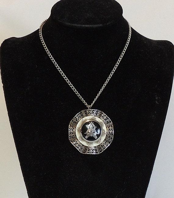 Vintage Filigree Silvertone Enamel Pendant Necklace.. Figural Siam