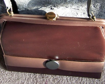 "Vintage 50""s ""PATENT LEATHER"" TwoToned Goddess Bronze with Gray Button Accent"