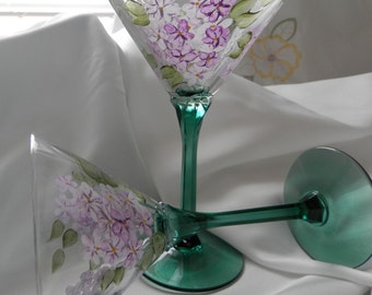 Hand painted Lilacs with green stem  Martini glass