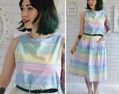 Vintage Pastel Pull-Over Sleeveless Dress Size XS or Small