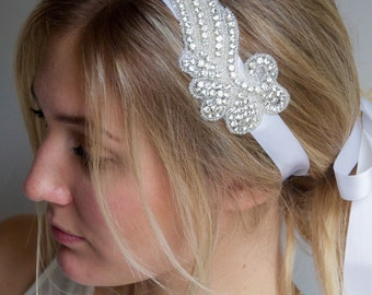Rhinestone Wing Headband - Crystal Rhinestone Angel wing on satin white ribbon headband