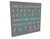 She is clothed in strength and dignity Personalized Baby Gifts Nursery Decor Sign on Wood or Canvas Baby Girl Gift