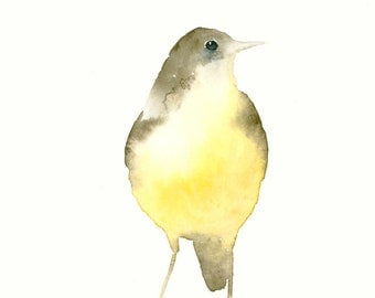 Fine Art Print from Original Bird Watercolor Painting Yellow and Brown Bird