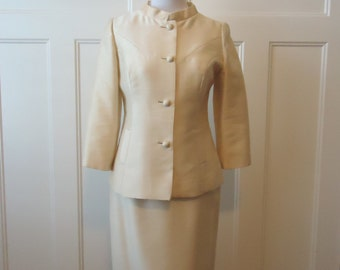 Vintage dress, Retro Dress, Party Dress, Cocktail dress, Womens Cocktail dress, Prom dress, Bridesmaid, Wedding, Cream Wool and silk suit