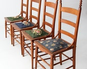 antique ladder back chairs with needlepoint seat