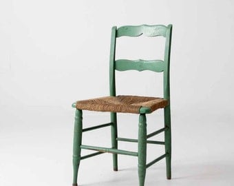 vintage rush seat chair, painted wood chair