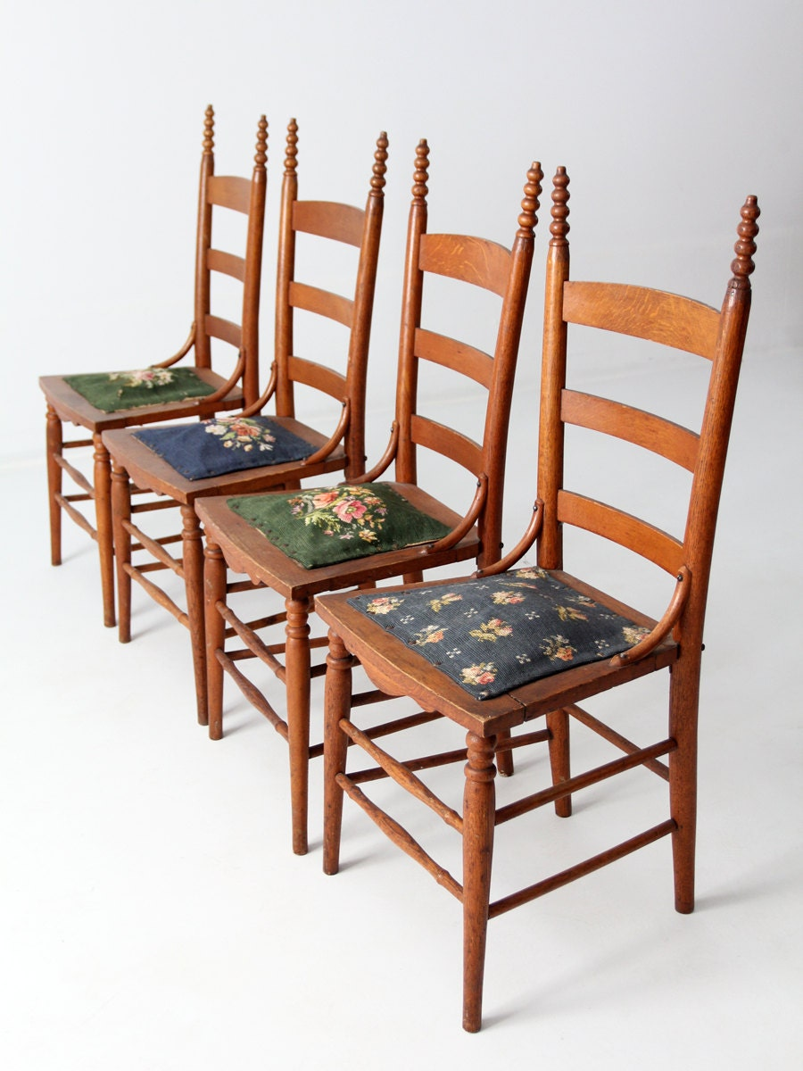 Antique ladder back chairs with needlepoint seat Ladder back chairs