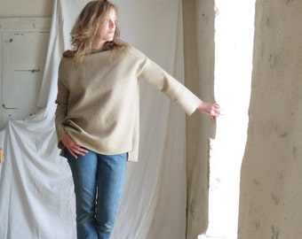 Beige Straight Sleeve Tunic Sweater in Boiled Wool - Loose Oversize - Slouchy and Warm.