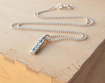 Silver Bar Necklace with Texture - Stamped Bar Silver Pendant - Silver Pendant - Gift for Birthday -