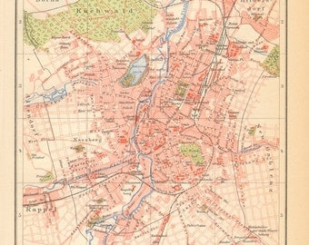 1904 AntiqueCity Map of Chemnitz, Germany