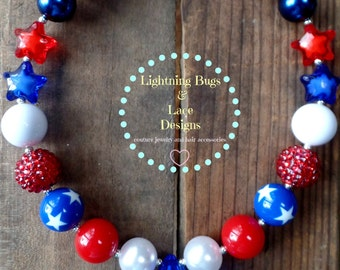 SALE 20% OFF SALE Girls Patriotic Red, White & Blue 4th of July Bubblegum Necklace