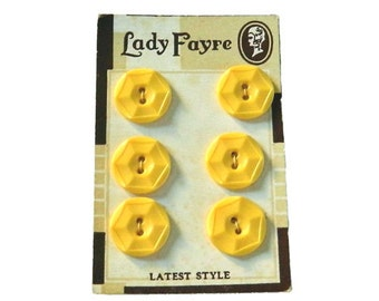 Set of 6 Matching Yellow 1930s Bakelite Buttons