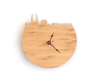 Barcelona Modern Clock - City Skyline Wall Clock - Spain