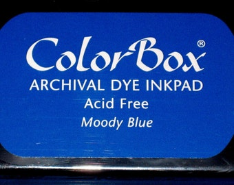 Blue Ink Pad Color Box Archival Dye Inkpad Blue Permanent Ink Pad for Stamps Made in the USA Stamp Pad Moody Blue