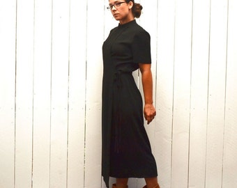 Black Wrap Dress Vintage Mandarin Collar Mid Calf Length 1980s Evening Cocktail Dress Medium
