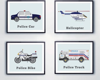 Police prints, Kids wall art, Rescue vehicles, Prints for Toddlers, Boys room decor, Police cars, Motorbikes, Helicopter, Vehicle decor