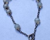 Vintage Sterling Silver Rosary of Ten Moonstone Bracelet with Chalice Religious Jewelry 8.67""