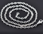 Necklaces : 10 Bright Silver Plated Textured Oval Link Chain Necklaces with Lobster Clasp ... 18 inches -- Lead & Nickel Free 14097