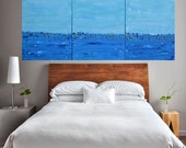 Made To Order-24x54 Abstract Beach Ocean Wave with Gold Texture-Multi Panel
