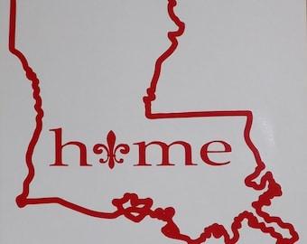 Louisiana Home Vinyl Decal - Red/Louisiana Sticker/Louisiana Car Sticker/Louisiana Car Decal/Custom Car Decal/Louisiana State Sticker