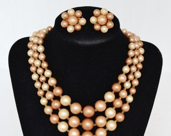 Vintage Necklace and Clip-On Earring Set in Tan and Brown Made in Japan