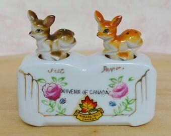 Vintage Deer Nodder Salt and Pepper Shakers For Display