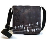 Birds on a Wire Black and White Messenger Bag Purse IN STOCK