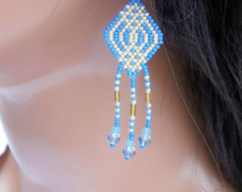 Blue and Yellow Celtic Style Earrings - Seed Bead and Crystal Earrings - Beaded Fringe Earrings - Medium Length - Everyday Earrings