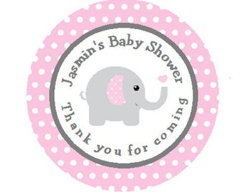 Baby Shower Personalized Pink & Gray (Grey) Elephant Round Party Favor Stickers - Elephant Polka Dot Stickers  **Discounts Available