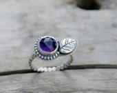 Amethyst and Leaf Stacking Ring in Fine Silver Metal Clay and Sterling Silver Ball Bead Wire. US Size 7. February birthstone ring
