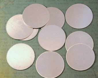"12 1.5"" Aluminum Blank Tags - Round Disc - Solid Silver Aluminum - 20ga"