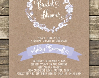 Printed Bridal Shower Invitation - Romantic Rustic with a POP of Lavender - Professionally printed, includes envelopes