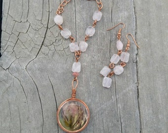 Rose Quartz and Copper First Place Winner Necklace with Pink Dried Flowers and Amethyst Dust in a Copper Pendant by AfterWork