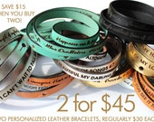 SALE! Save when you buy two! Personalized Leather Wrap Bracelets, Custom Text, Adjustable