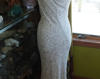 BIas cut backless beaded wedding dress flapper great gatsby sexy wedding dress