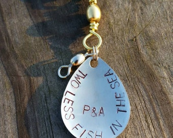 Fishing Lure Spoon or Spinner Keychain Hand Stamped Personalized, Customized