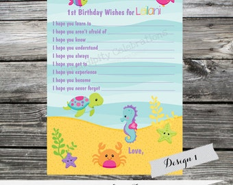 Printing Service: 12 Printed Wish Cards -Made 2 Match Any Theme In Our Shop -Ocean Friends -Boy -Girl -Under the Sea -1st Birthday