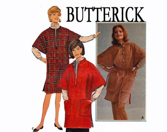 1960s Reversible Poncho UNCUT Vintage Sewing Pattern Size Small 10-12 Bust 31-32 Tunic Top Poncho Butterick 3260
