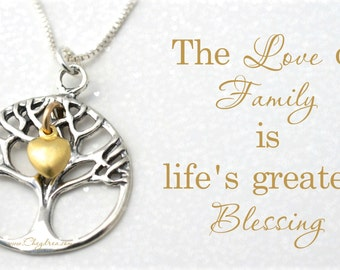 FAMILY TREE GIFT, Sterling Silver and Gold, Family Tree Necklace, Birthday Gift for Mom from Daughter, Gift for Grandma, Gift for Nana