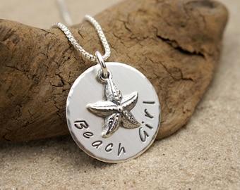 BEACH GIRL NECKLACE, Beach Girl Jewelry, Personalized Beach Lover's Necklace, Nautical Jewelry, Coastal Jewelry, Starfish Jewelry