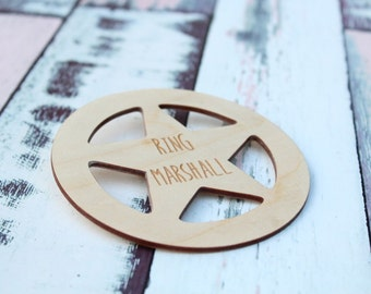 Ring Bearer Badge Marshall Star Badge Western Wedding Ring Bearer Gift Ring Security Rustic Wedding Ring Bearer Barn Wedding Badge