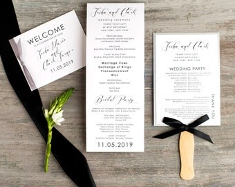 Modern Wedding Ceremony Fans, Booklet Programs With Ribbon Bow, Booklet Covers - Black Script - Deposit