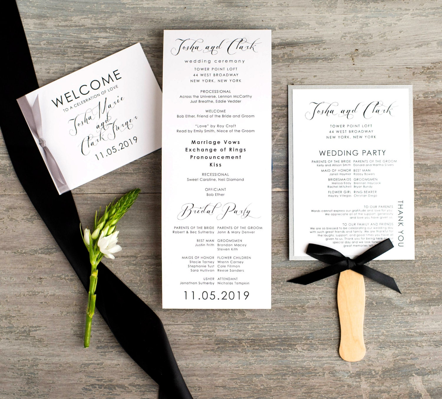 Modern Wedding Ceremony Fans Booklet Programs With Ribbon