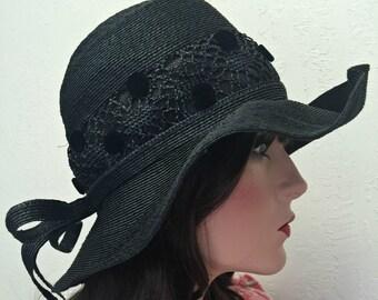 Vintage 1960s Boho Hat Faux Black Straw for Wedding or Honeymoon - 60s Filene Label